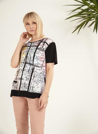Optique Knitwear Yazı Baskılı Bisiklet Yaka Kısa Kol Penye Bluz Siyah